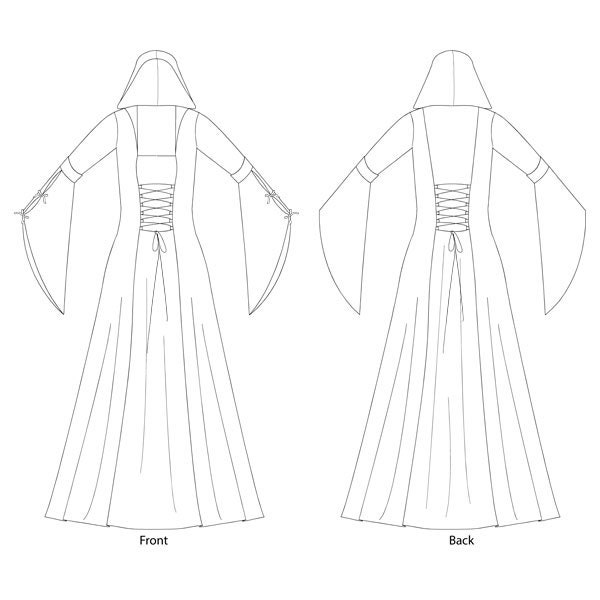 Hooded Medieval Dress/Costume Sewing Pattern - Sizes 8-22 UK ...