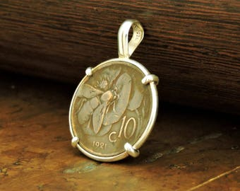 Italian Coin Jewelry with Vintage Italy Bee Coin in Handmade Sterling Silver Pendant Setting