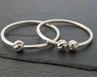 Twisted Bead Sterling Silver Fidget Ring - Petite Thin Sterling Silver Spinning Bead Ring, Worry Ring