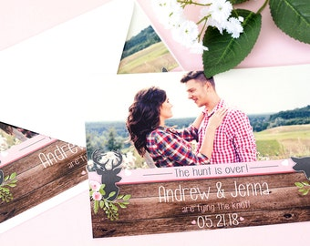 "Rustic Save The Date Cards - 5"" x 7"" The Hunt is Over Wedding Announcement Cards - Save The Dates - Personalized Save the Dates - #satd-140"