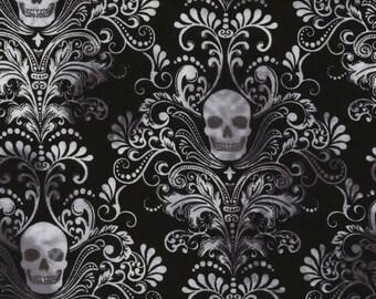 Stretchy Skull Damask Cotton Knit fabric