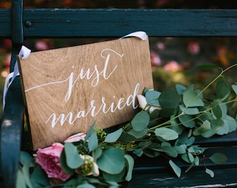 Just married sign, wood just married sign, hanging just married sign, wedding getaway sign, wood wedding sign, wedding signs, wooden wedding