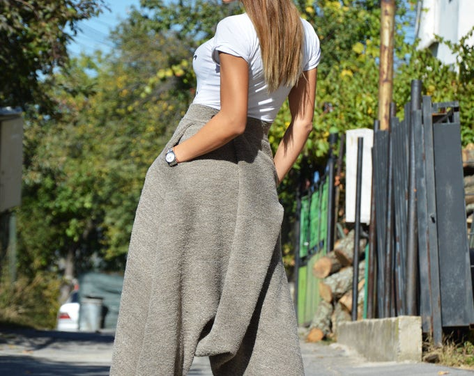 Winter Loose Wool Boucle High Waist Pants, Extravagant Casual Bottom Pants, Maxi Drop Crotch Pants by SSDfashion