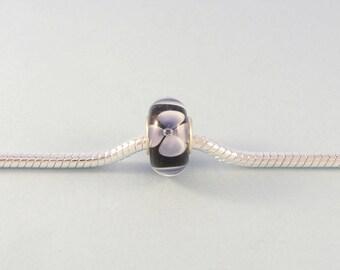 Lavender flower charm bead / large hole bead fits European charm bracelet / handcrafted glass bead