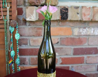 Gold Glitter Wedding Wine Bottle Centerpiece