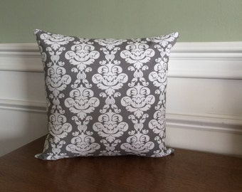 Gray Damask Throw Pillow Cover - Pillow Sham - Decorative Pillow - Floral Print - Designer Cotton Fabric - 14 16 18 20 inch