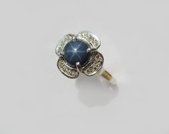 Natural Blue Star Sapphire In Sterling Silver Flower Ring With White Topaz Accents. Size 7
