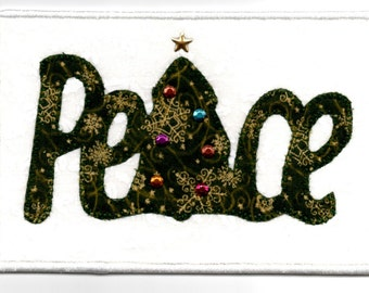 Peace Christmas Tree Quilted Fabric Postcard