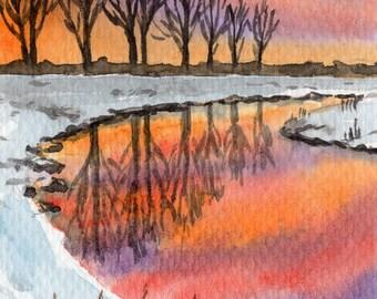 ACEO Original Watercolor Painting-Landscape Sunset Winter/Snow Scene/Winter River ATC
