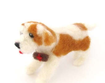 Needle felted Saint Bernard dog, miniature dog, pet sculpture, St Bernard