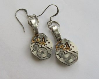 Steampunk dangle Earrings Watch movements Industrial Gift idea Burning man Steampunk Jewelry Silver Unisex gift for Her for Him Birthday