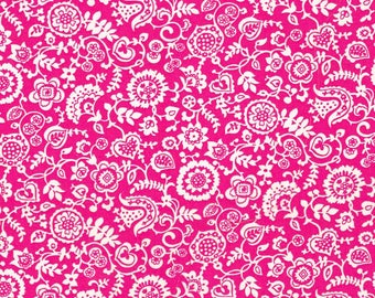 SALE Liberty Fabric Clare and Emily D Hot Pink Tana Lawn