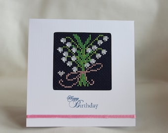 Lily of the valley birthday card - cross stitch
