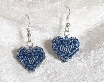 Heart denim dangle earrings - denim heart earrings - Blue denim heart earrings - jeans blue heart earrings - upcycled denim fabric earrings
