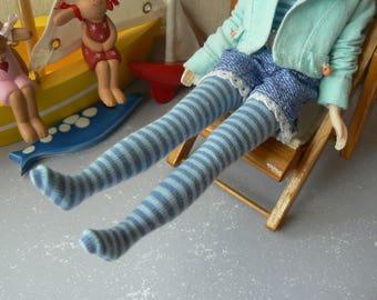 Light Blue and Blue stripe socks for Blythe dolls  Blythe stockings handmade in Paris France