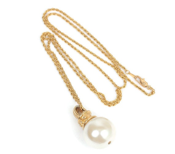 Faux Pearl Chunky Pendant Long Necklace Gold Tone Disco Vintage