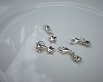 Sterling Silver Star Charm with Carabiner Clip - Mobile/Cell Phone, Handbag, Key Charm