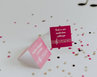 Wedding place cards / Pink wedding / Magenta place card /  Music name cards / Clef placecards/ Staff seating cards