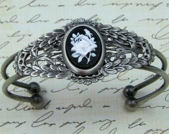 Victorian White Rose Cameo Cuff Bracelet, Victorian Steampunk Cuff, Silver Cuff Bracelet, Black and White Rose Bracelet, Cameo Jewelry