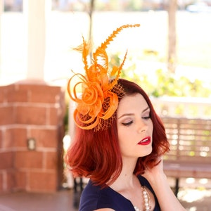 Orange Fascinator, Womens Tea Party Hat, Church Hat, Derby Hat, Fancy Hat, Bachelorette Hat, Tea Party Hat, wedding hat