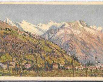 Solduno con Locarno e Monti Trinita, by E. Zuppinger, Vintage Unused 1920's  Postcard, Editore E. Zuppinger, Muralto, Lacarno, Switzerland.