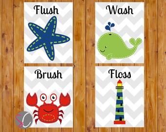 Nautical Theme Childs Bathroom Decor Flush Wash Brush Floss Navy Lime Green Red Bath DIY Wall Art 8x10 JPG Instant Download (130)