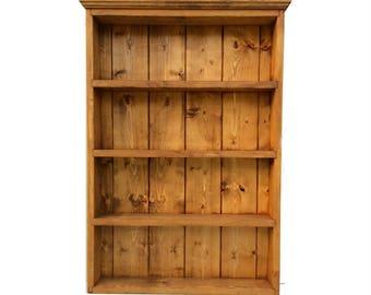 Rustic Handmade Spice Rack Organiser Wall Display 65cm Tall 4 Shelves - Medium Oak Finish