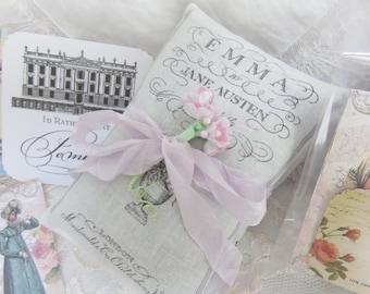 Jane Austen Emma and Pride and Prejudice Gift Set, FREE SHIPPING, Ready for Giving, Jane Austen lavender sachet set,  Literary Classics Gift