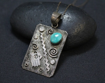 Sterling Silver Native American Symbol Necklace Signed S SKEETS, S Skeets Jewerly, Native American Turquoise Necklace, Navajo Turquoise