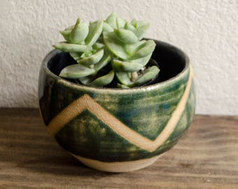 Green Zigzag Succulent Planter