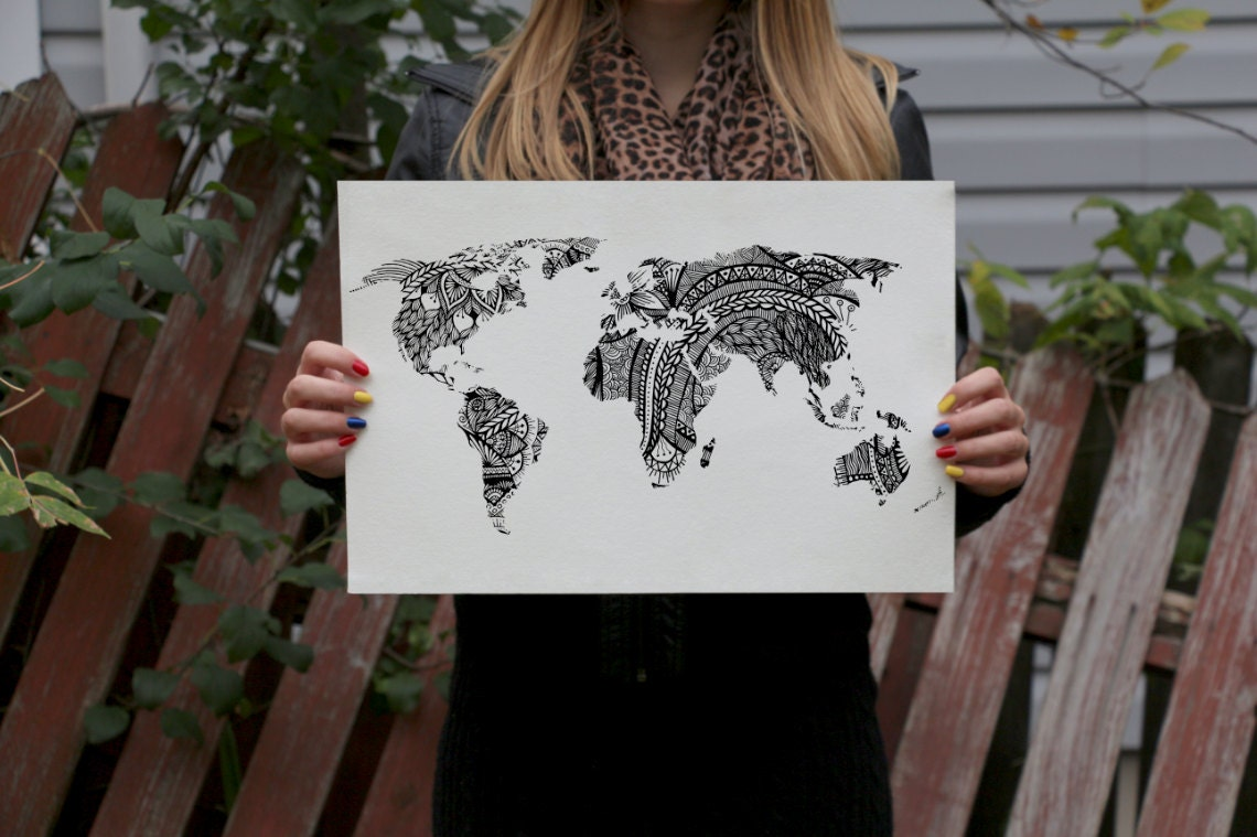 Design world map art print black and white drawing prints zoom gumiabroncs Choice Image