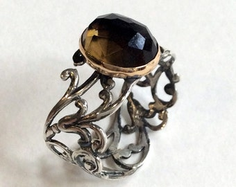 Smoky quartz ring, Unique ring for her, gypsy ring, stone ring, Lace ring, wide silver band, boho jewelry, bohemian - Your illusion R2054G