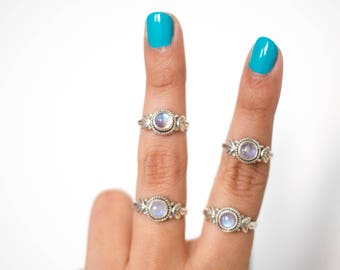 Delicate Moonstone Ring * Moonstone Silver Ring * Rainbow Moonstone Ring * Blue Moonstone Ring * Silver Leaf Ring * Silver Moonstone Rings