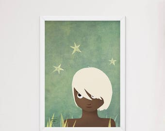 The boy and the stars - art print
