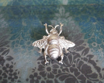 Bumble Bee - Tiny Matte Silver Plated Bumble Bee Brooch Lapel Pin or Tie Pin Tie Tack with Gift Box