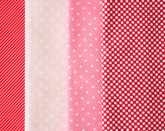 Fabric Bundle Precut 1/2 Yard Each Print 2 Yard Total - Pink Red