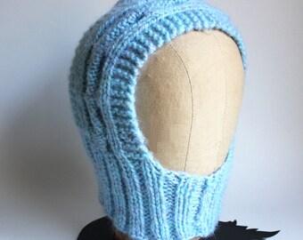 Sky Blue Knit Kids Winter Hoodie
