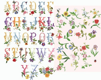 French Country Floral Monograms and Borders - Machine Embroidery