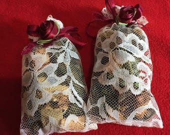 Christmas Ornament Sachet with Rose Embellishment