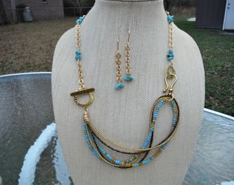 Turquoise and gold big bead jewelry set, convertible jewelry, turquoise swirl, chunky bracelet, adjustable...