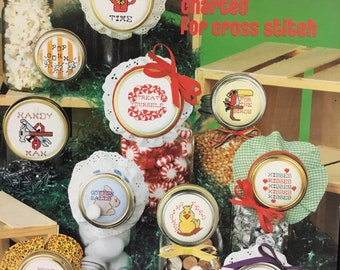 Jar lids counted cross stitch leaflet pattern