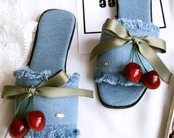 Korean style women thin denim cherry sandals