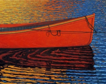 "The Red Boat, 5"" H x 10"" W, Offset Print by Paul Hannon, FREE SHIPPING Canada & US"