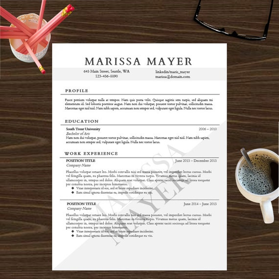 resume template instant digital download cover letter professional resume complete package marissa mayer - Marissa Mayer Resume