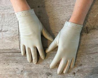 Vintage imitation leather driving gloves