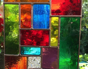Stained Glass Panel Multi Coloured Copper Abstract Stained Glass Suncatcher Glass Art Panel Stain Glass  - CRhodesGlassArt