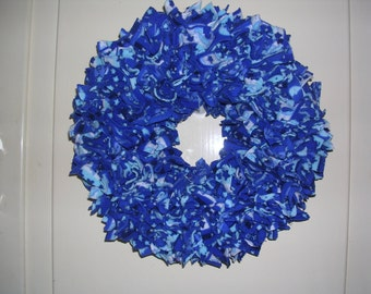 Blue and whtie felt OOAK Fabric wreath 10""