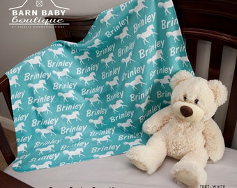 Personalized Horse Baby Blanket- cowgirl cowboy nursery, fleece receiving blanket, equine rodeo quarter horse baby shower gift