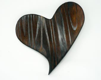Natural Burnt BROWN Wooden Love Heart Handcrafted Handmade