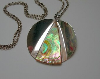 Mid Century Modernist Stainless Steel and Abalone Pendant Necklace,Vintage 1960s,70s